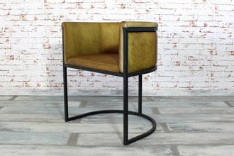 Stylischer Lounge Stuhl Lorenzo mit bequemer Sitzschale aus echtem Büffelleder gepolstert