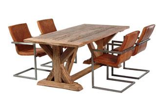 Klostertisch aus alter Eiche rustikal mit Kreuz-Tischgestell
