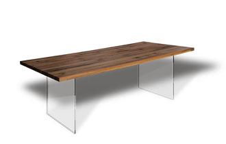 Glaswangen Esstisch Tischplatte Massivholz Eiche Tischgestell Glaswangen