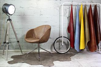 Schalenstuhl Alisha Trend Echtleder Schale mit chrom Gestell für Premium Lounge, Hotel und Bar