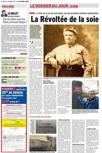 Dauphiné Libéré, édition du 21 novembre 2017