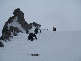 二段目の雪壁