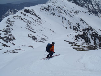 中岳山頂から南沢へドロップイン!