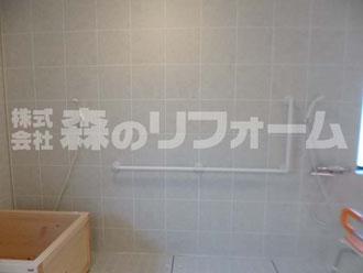 柏市 介護施設内浴室リフォームL字手摺設置後
