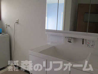 松戸市水まわり洗面台リフォーム 洗面台交換 クロス クッションフロア貼替