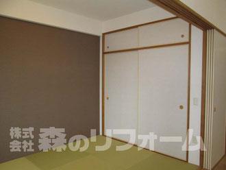 流山市 まるごとマンションリフォーム 和室リフォーム 畳を琉球畳 壁一面をアクセントクロスにリフォーム 襖 天袋を貼替リフォーム