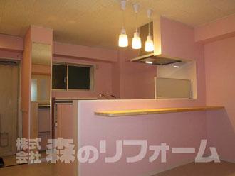 松戸市 まるごとマンションリフォーム キッチンリフォーム おしゃれな対面式に変更 ペンダント取付  クロス貼り替えリフォーム