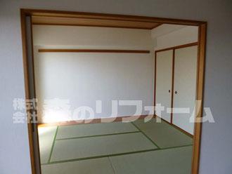 松戸市マンションリフォーム 和室リフォーム 畳を表替え 木部をアク洗い