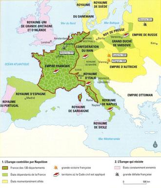 L'empire et les territoires sous domination française en 1811.