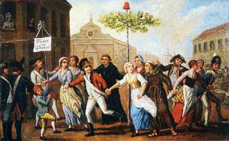 Plantation d'un arbre de la liberté à Mayence en Allemagne en 1793.