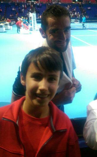Amir mit dem US Open Sieger  von 2014  Marin Cilic  beim ATP Turnier in Basel