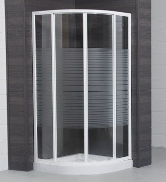 Mampara de ducha semicircular blanco con vidrio serigrafiado Lineal
