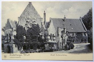 Hotel Externsteine. Der neugotische Bau von 1867/68 wurde 1965 abgerissen. Ansichtskarte, um 1900 (Sammlung Heinrich Stiewe)