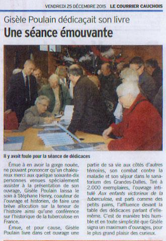 Article Le Courrier Cauchois (Vendredi 25 décembre 2015)