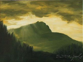 la Ste Victoire sunrise, 40/30cm oil on canvas