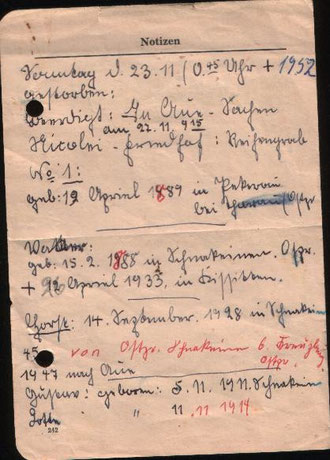 Aus Vaters Notizbuch von 1952