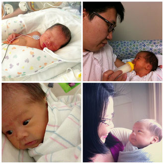 Clockwise: Day 1 when you were born. Precious moments with papa and mama. Beautiful you.