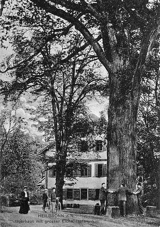 Jägerhaus mit großer Eiche, um 1910