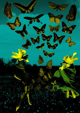 illustration collage spring printemps surrealism surrealist art papillons butterfly butterflies