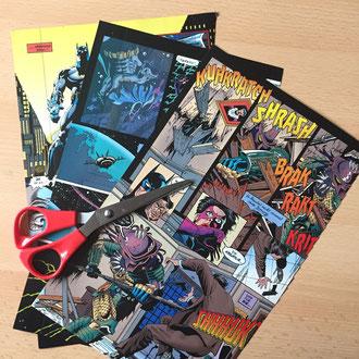 Such dir ein geeignetes Papier aus. Das kann einfarbiges Bastelpapier sein, Seiten eines alten Buches oder wie in meinem Fall ein altes Comic-Buch.