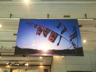 写真展入口には、大きな大漁旗の写真がお客さまをお出迎え。