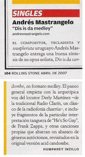 Abril 2007, Rolling Stone edición argentina