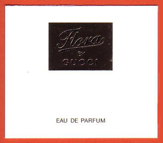 2011 - FLORA BY GUCCI : CARTE RECTANGULAIRE - INTERIEUR ET ECRITURE DORES