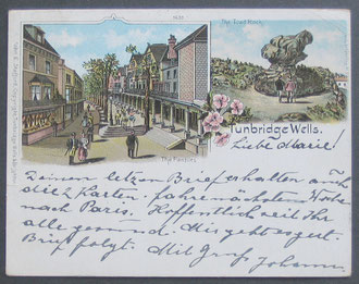 "Tunbridge Wells, Kent ""Court"" size postcard used to Austria in 1900."