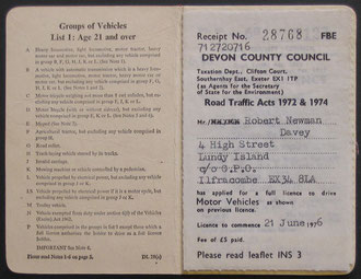 A driving licence issued to Robert Davy on Lundy. Dated 21st June 1976.