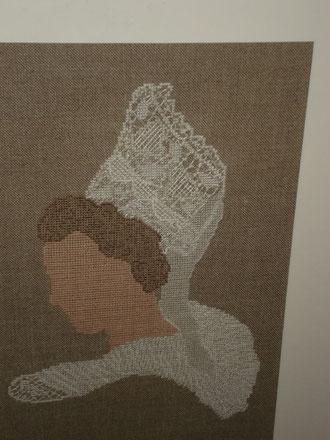 """Coiffe """"la Pont Aven """"de Point Passion"""", création de Christine Toufflet en point de croix"""