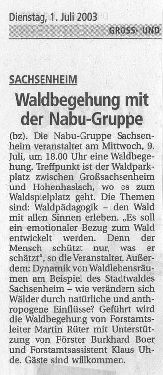 1. Juli 2003 BZ Ankündigung Waldbegehung Großsachsenheim Waldpädagogik am 9. Juli 2003