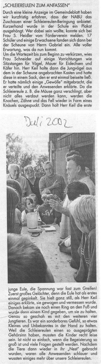Nachrichtenblatt von Juli 2002 über die Schleiereulenberingung mit Herbert Keil in Hohenhaslach