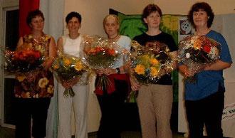Ehrung der aktiven Helferinnen und Mitgliederinnen der Gymnastik- und Fitnessgruppe: Sieglinde Müller, Anke Knöll, Annika Jäger, Susanne Seelig, Monika Seelig (von links)
