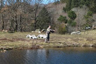 Séance pêche à la mouche sur le plan d'eau privé