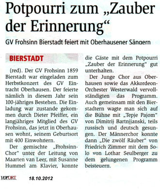 Frohsinn in Obershausen. VorOrt vom 18.10.2012
