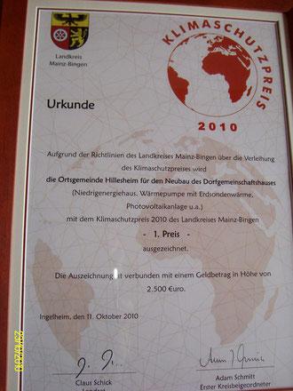 Urkunde Klimaschutzpreis Landkreis Mainz-Bingen 2010