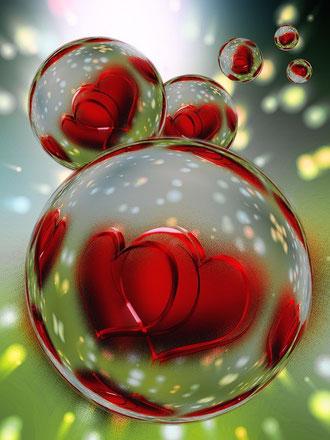 bulle d'eau avec coeur