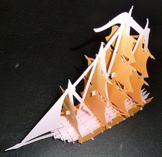 Kirigami Segelschiff, das dritte Modell, aus 20 Bauteilen!