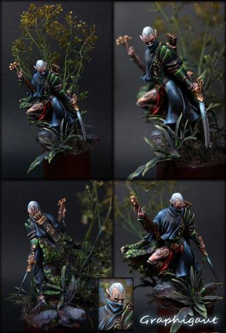 Elfe Noir 70mm Draconia, par Graphigaut