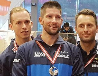 Ö-Meister 2019 SPG LINZ (Spielgemeinschaft ASKÖ LINZ AG Froschberg/Union Waldergg Linz) vl. Thomas Grininger, Uros Slatinsek, Lubomir Pistej