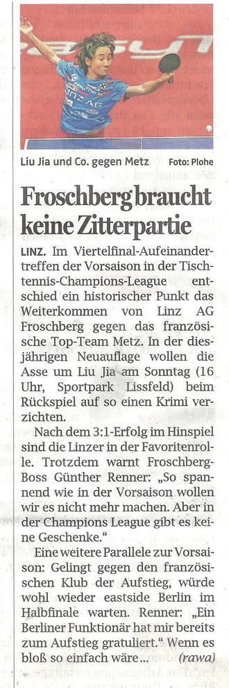 OÖ Nachrichten ECL QF Metz 09.02. 2017