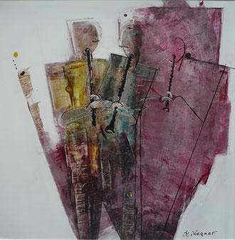 "Annelies Wagner, ""Klarinett"", Tintografik auf ALU, 40 x 40 cm"