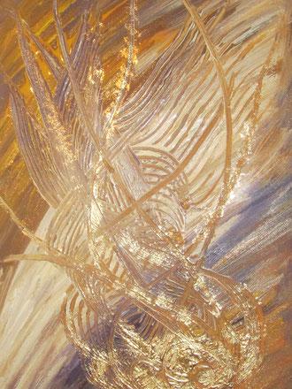 Goldene Flamme: 30x40cm
