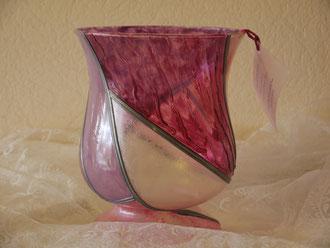 Vase évase rose nacré - 25 cm env.