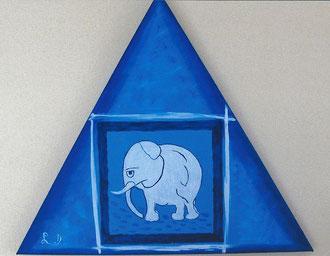 ELEPHANT SOLITAIRE - Réf. N° 34 - Réalisation: Acrylique - L.D - 50x50x50 - PRIX: 59 euros