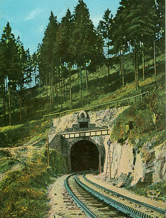Östliches Portal des Bismarcktunnels bei Rübeland um 1895