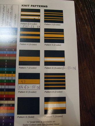 襟、袖のリブパターン。