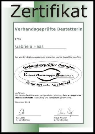 Bestattungshaus Deufrains Prüfzertifikat gute Bestatter Eberswalde und Schorfheide Finowfurt