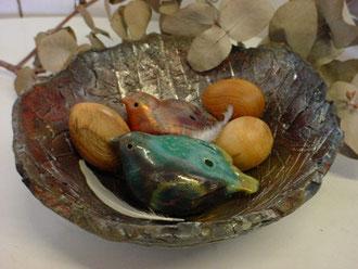 nid d'oiseaux en raku