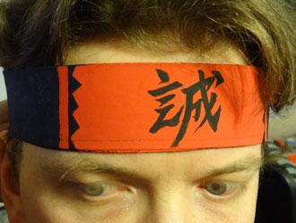 Hachimaki noir *Shinsen gumi en couleur rouge